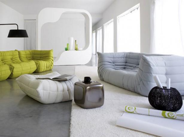 Black Arch Lamp White Wall Grey Floor Modern Shelf