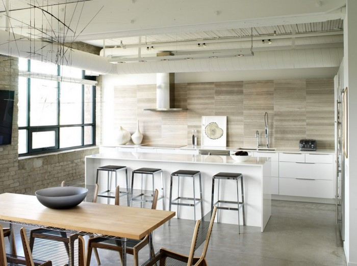 Black Barstools Brick Wall Wooden Dining Set Grey Floor