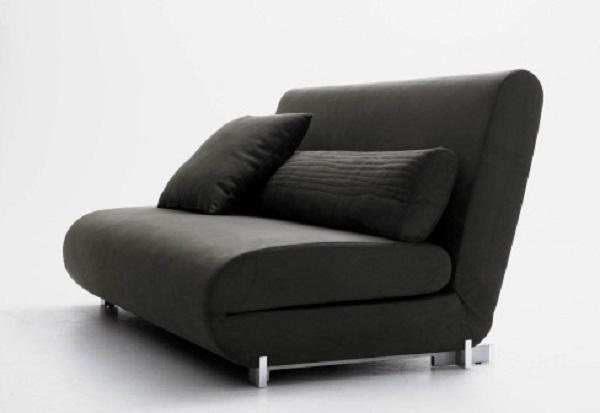 Black Bed Sofa Black Cushions Minimaist LookMetal Legs