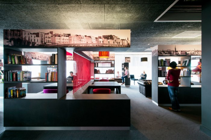 Black Bookshelves Grey Floor Red Accent Black Ceiling