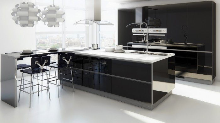 Black Cabinets Black Island White Floor White Dining Table Black Chairs