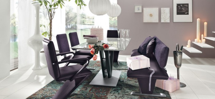Black Chairs Black Glass Dining Table White Ball Hanging Lamps White Floor