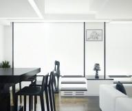 Black Chairs Black Table WHite Sofa White Black Table Wooden Floor