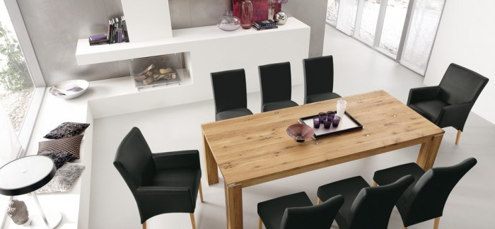 Black Chairs Wooden Dining Table White Floor White Cabinets Wide Windows
