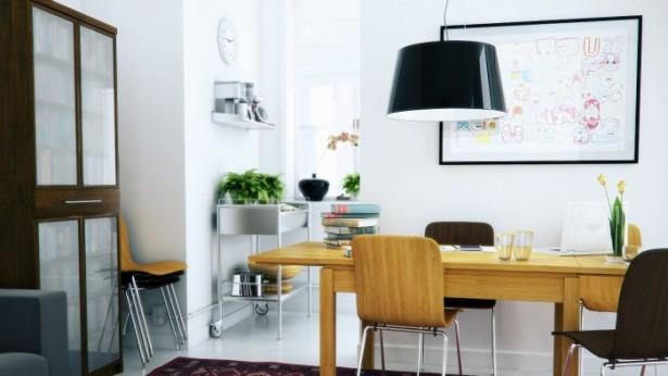 Black Chandelier Wooden Desk Wooden Chairs WHite Wall