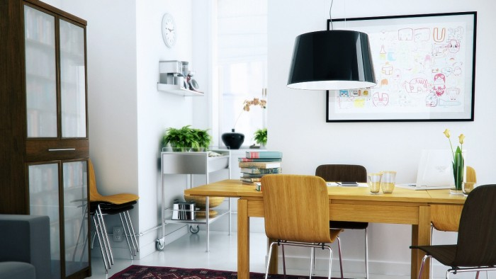 Black Chandelier Wooden Desk Wooden Chairs WHite Wall