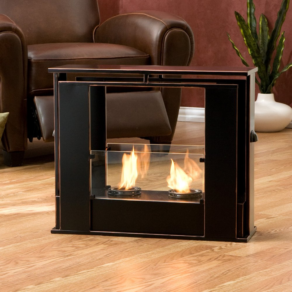 Black Color Electric Fireplace Wooden Floor Brown Sofa