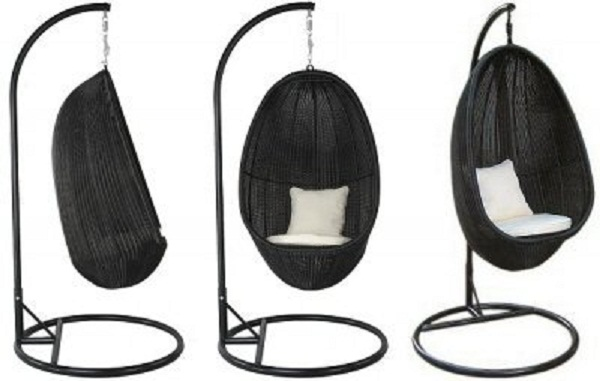 Black Color Hanging CHairs White Cushions Modern Design