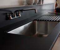 Black Counters Black Backsplash Square Sink Stainless Steel Faucet