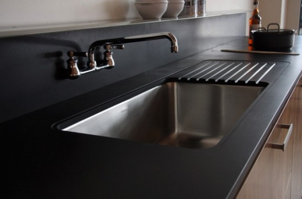 Black Counters Black Backsplash Square Sink Stainless Steel Faucet