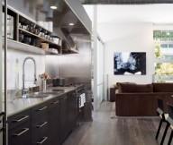Black Counters Hidden Lamps Stainless Steel Wooden Floor