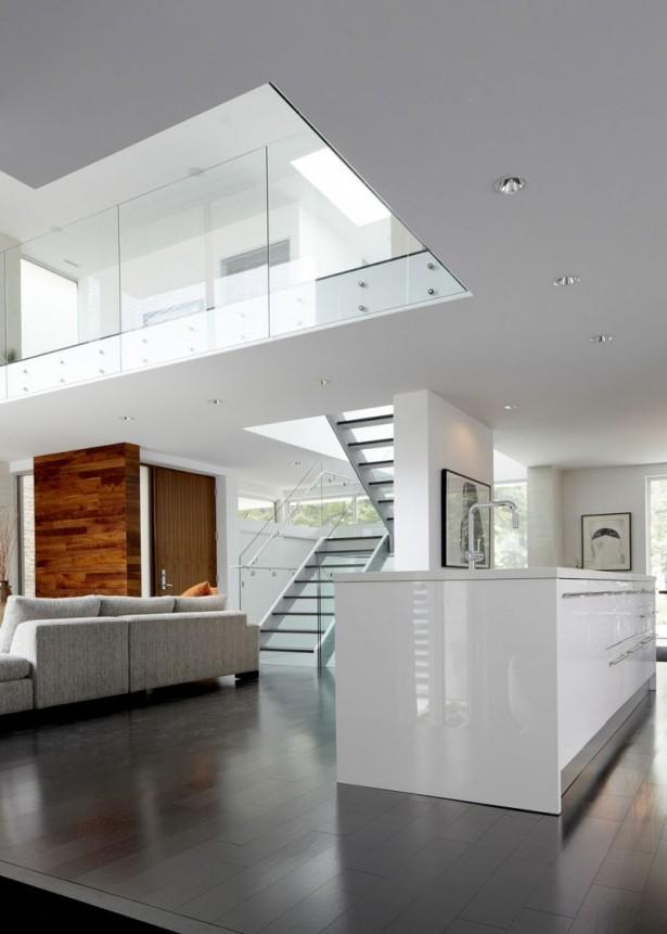 Black FLoor White Kitchen Island Hidden Lamps Modern Stairs