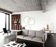 Black FLoor White Wall Grey Sofa Minimalist Rug