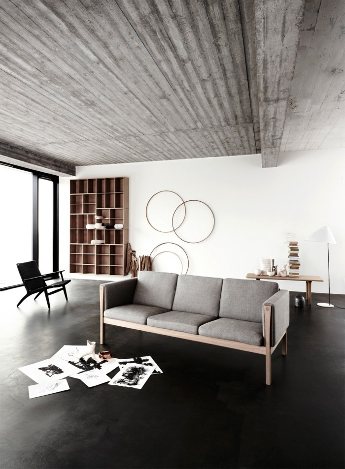 Black Floor White Wall Grey Sofa Minimalist Rug