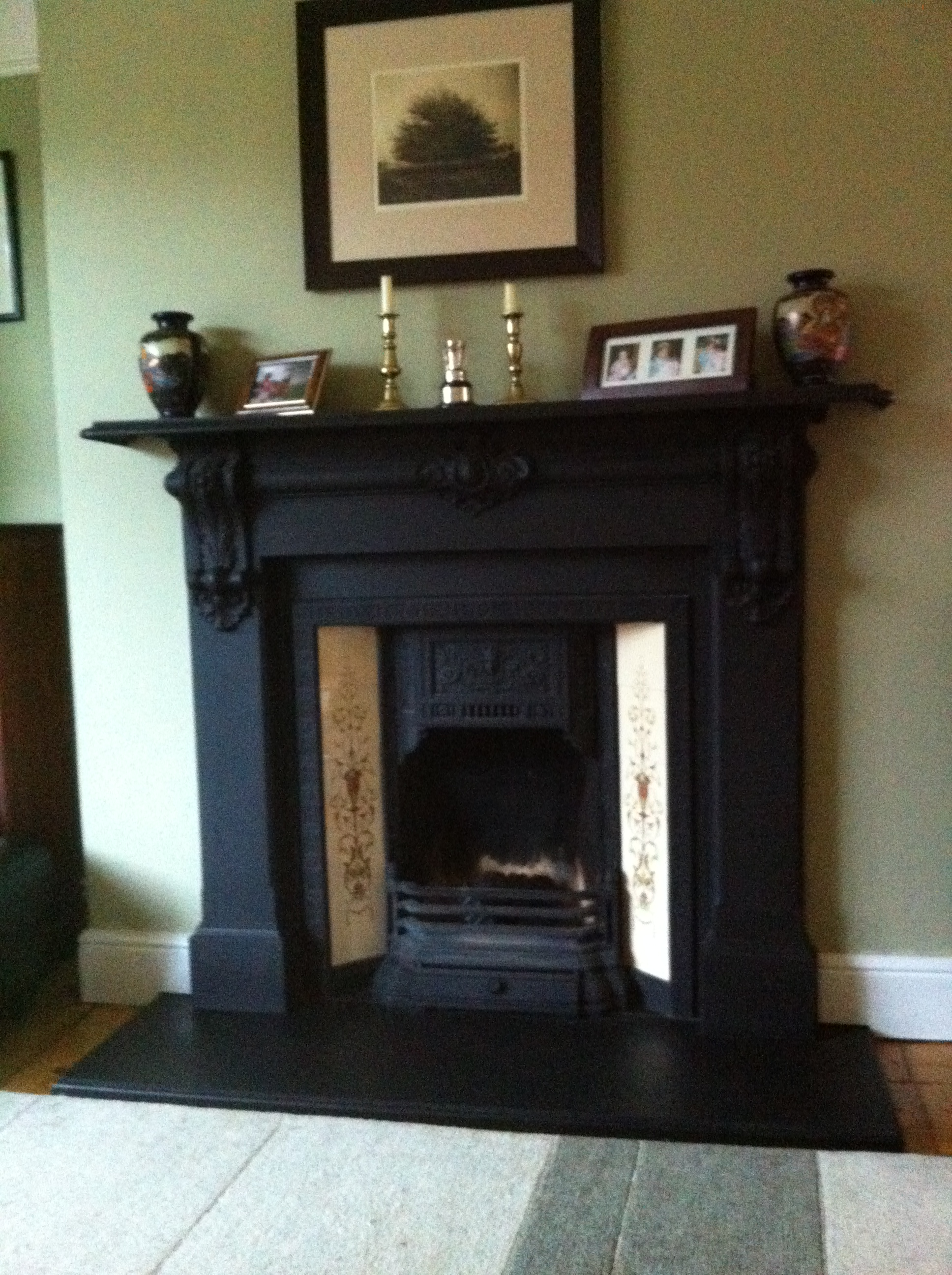 Black Fireplace Wooden Floor Cream Wall Classic Look