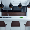 Black Hanging Lamps Brown Chairs White Kitchen Islands Wooden Backsplash