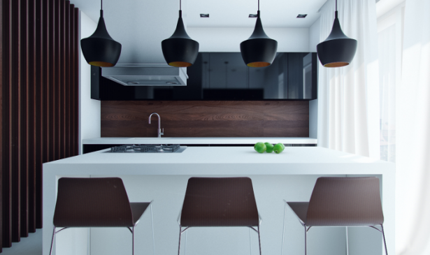Black Hanging Lamps Brown Chairs White Kitchen Islands Wooden Backsplash