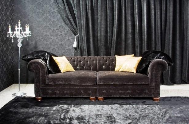 Black Motive Wallpaper Black Curtain Black Rug Classic Standing Lamp