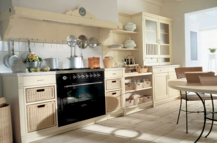 Black Oven Conventional Stove Cream Cabinets Cream Floor Rattan Chairs