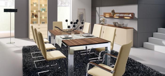 Black Rug Cream Chairs Grey Wall White Floor