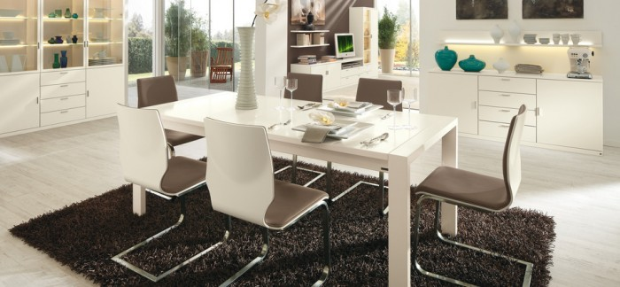 Black Rug White Chairs White Dining Table White Cabinets