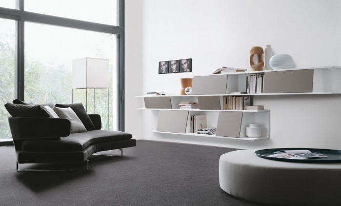 Black Rug White Wall Minimalist Shelf Black Sofa