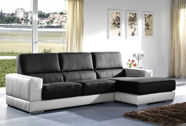 Black Seater White Couch Frame Minimalist Look Modern Design