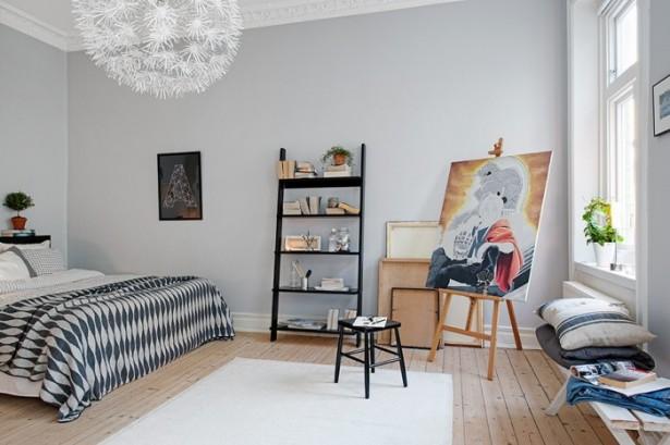 Black Shelves White Caroet Wooden Floor