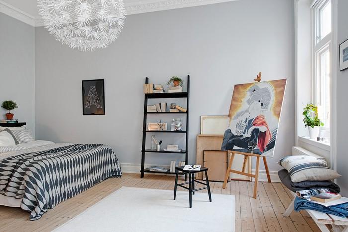 Apartments: Black Shelves White Caroet Wooden Floor, Grey ...