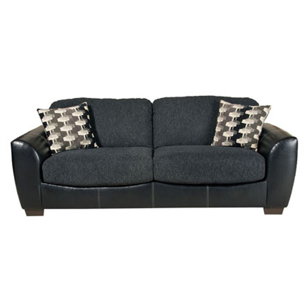 Black Sofa Frame Grey Seat Modern Look Typical Motive Cushions