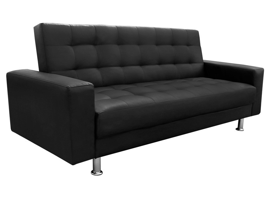 Black sofa minimalist look metal legs modern sense for Minimalist sofa