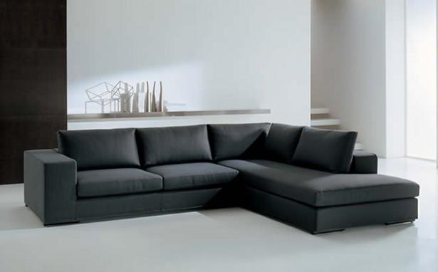 Black Sofa Minimalist Look White Floor White Wall