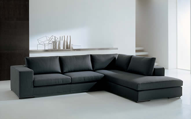 Black Sofa Minimalist Look White Floor White Wall