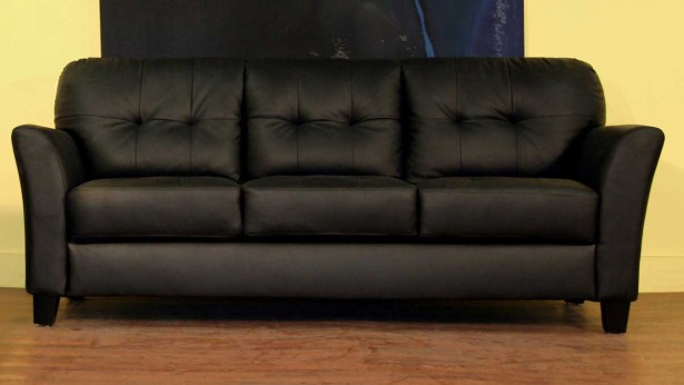 Black Sofa Minimalist Look Wooden Floor Yellow Wall