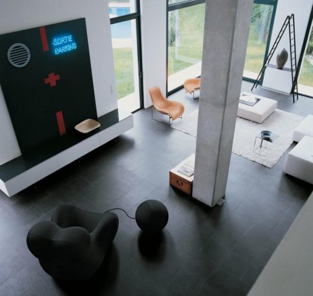Black Sofa Orange Chairs Black Floor Wide Windows