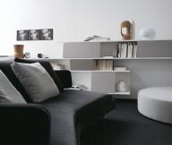 Black Sofa RoundWhite Sofa White Cabinet White Wall Painting
