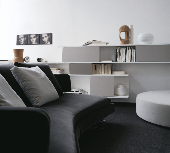 Black Sofa RoundWhite Sofa White Cabinet White Wall Painting