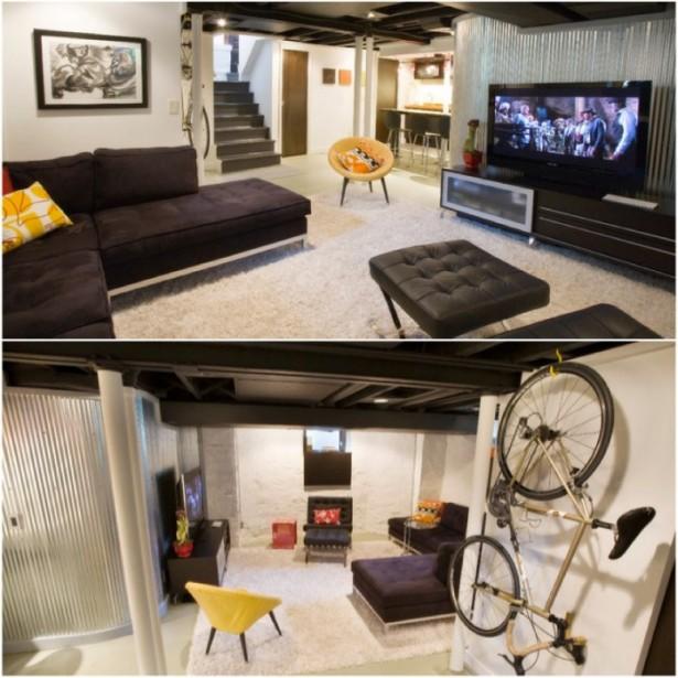 Black Sofa White Rug Modern Sense Yellow Chair