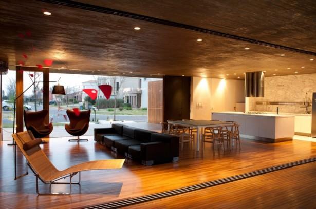Black Sofa Wooden Floor Hidden Lamps White Kitchen Cabinet