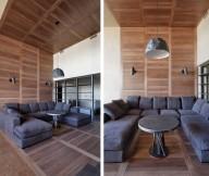 Black Sofa Wooden Floor Laminate Flooring Pendant Lamp