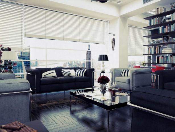 Black Sofas Parquette Floor Table lamp Unique Bookshelf