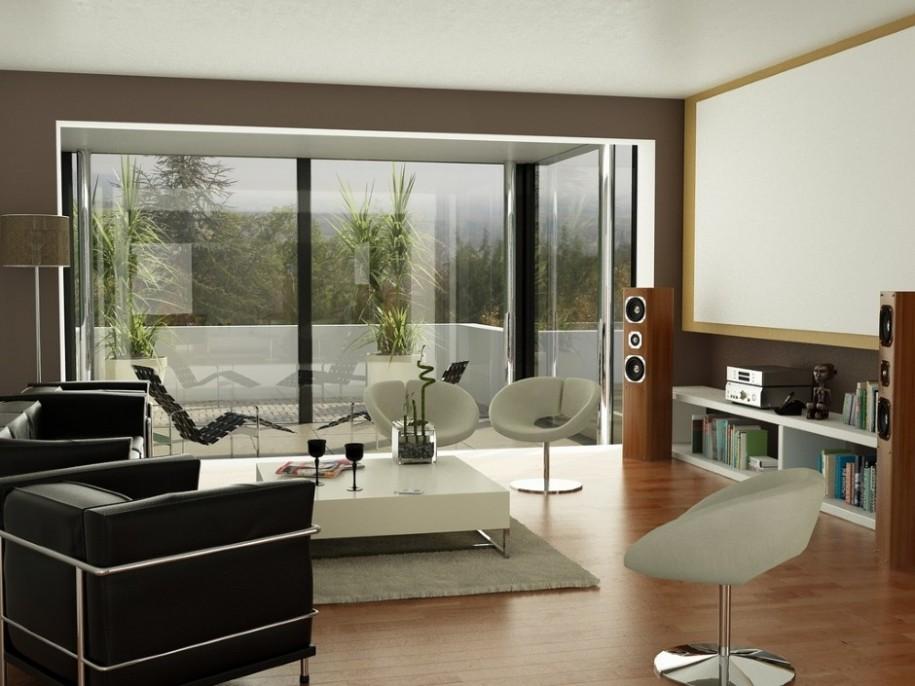 Black Sofas White Barstool Minimalist Table MOdern Audio Set