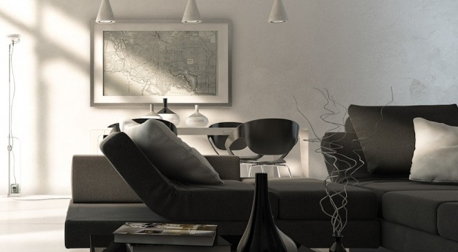Black Sofas White Hanging Lamps Black Glass Table Black Vase