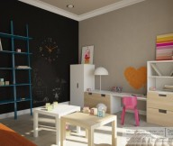 Black Wall Blue Shelves White Cabinet Wooden Square Table Pink Chair