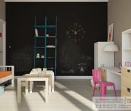 Black Wall Blue Shelves White Cabinets WOoden Floor
