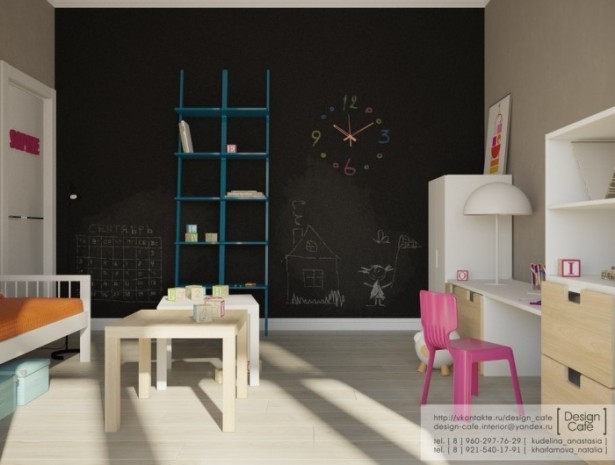 Black Wall Blue Shelves White Cabinets WOoden Floor