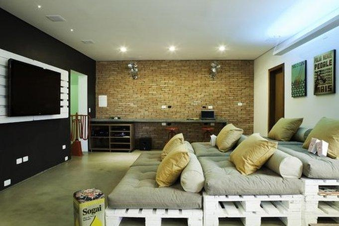 Black Wall Brick Wall Grey Floor Hidden Lamps LED Television
