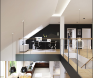 Black Wall Panel White Ceiling Black Chairs White Cabinets