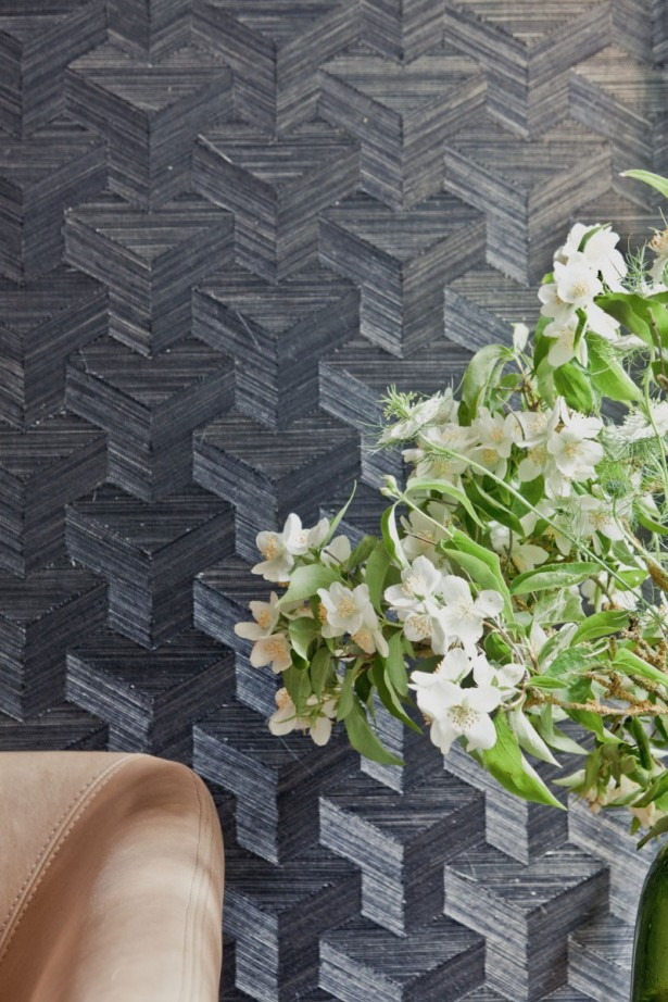 Black Wall White Flower Brown Sofa Modern Sense Minimalist Touch