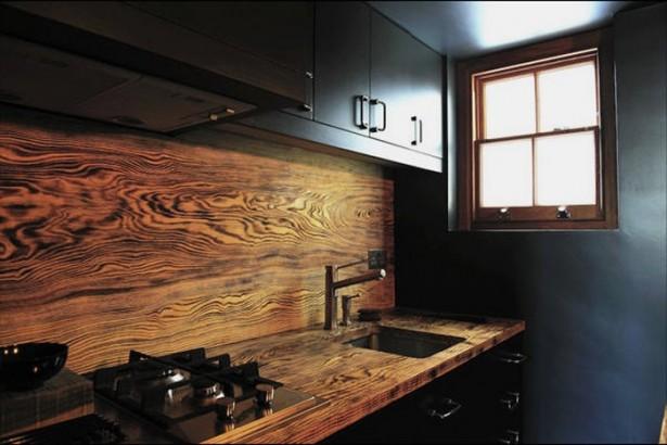 Black Wall Wooden Backsplash Conventional Stove Black Cabinets